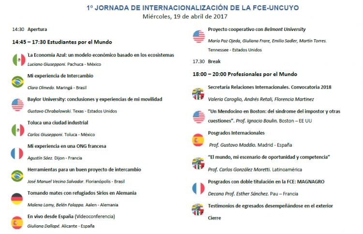 Agenda Jornada de Internacionalización