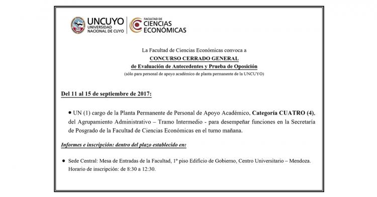 Concurso cerrado: cargo de la Planta Permanente de Personal de Apoyo Académico, Categoría CUATRO (4)