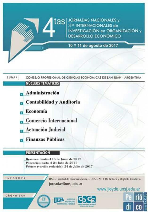 4º Jornadas Nacionales y 3º Internacionales de Investigación en Organización y Desarrollo Económico.